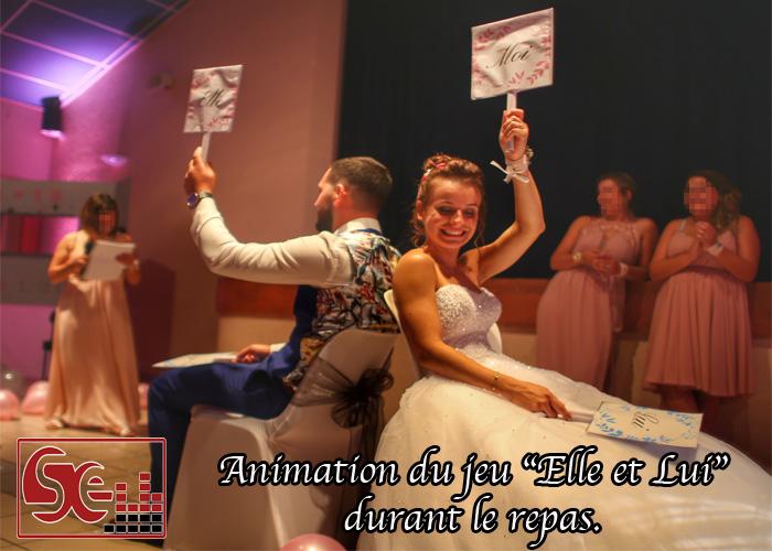 animation elle et lui repas demoiselle d honneur temoins mariage salle des fetes dj djette sud evenements sonorisation