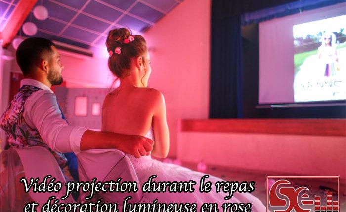 video projection repas mise en lumiere rose ambre demoiselle d honneur temoins repas dj djette sud evenements sonorisation