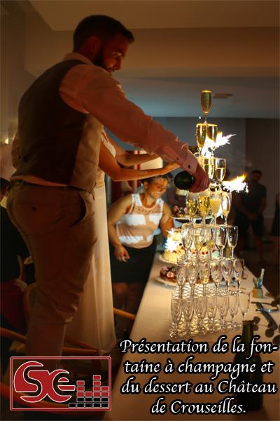 presentation fontaine a champagne dessert piece montee mise en lumiere musique ambiance dynamique dj djette sud evenements sonorisation