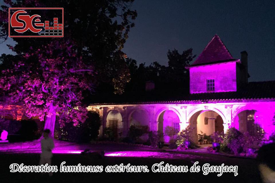 eclairage exterieur chateau de gaujacq mariage dj sud evenements sono