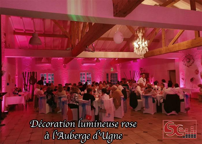 auberge d ugne mise en lumiere decoration lumineuse diner restaurant landes saubrigues sud evenements sonorisation dj mariage maries domaine de reception aquitaine