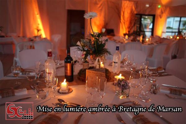 dj djette sud evenements sonorisation mise en lumiere ambre table invites zone de diner mariage salle des fetes bretagne de marsan proche mont de marsan landes animation mise en valeur decoration lumineuse orange esprit champetre mariages wedding pays basque
