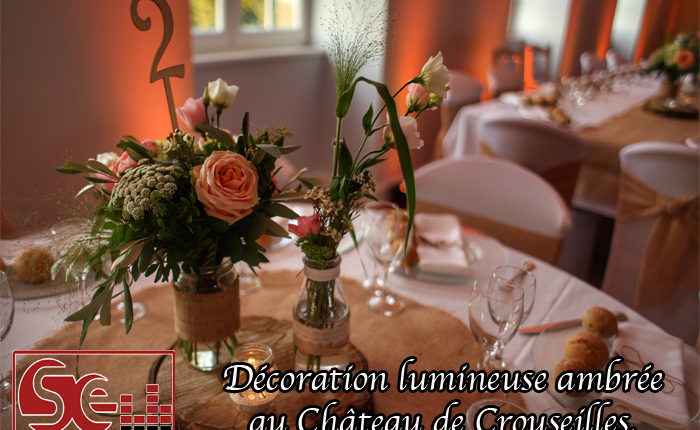 modele decoration de table mariage champetre decoration lumineuse ambre ambree orange fleurs bois dj djette sud evenements sonorisation animation mariage wedding chateau de crouseilles