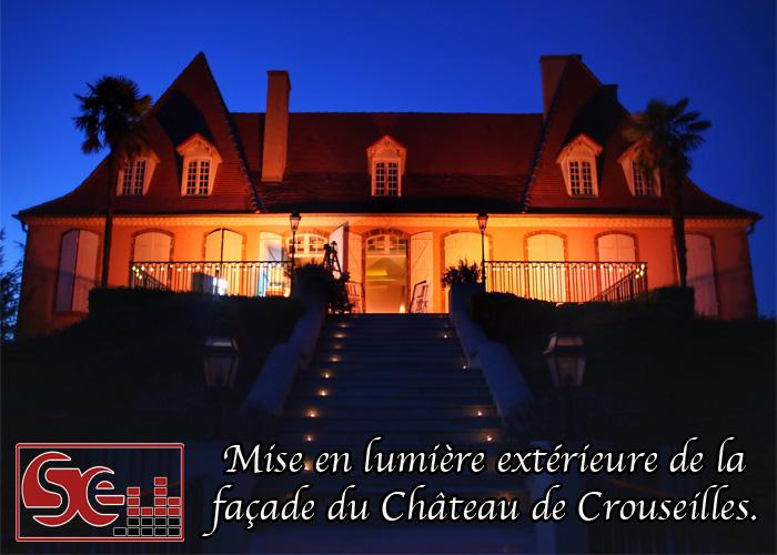 dj djette animation mariage sud evenements sonorisation pau bearn chateau de crouseille mise en lumiere exterieure facade orange ambre ambree decoration lumineuse